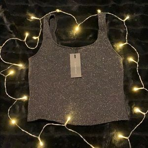 Dynamite- black crop top tank with gold sparkle